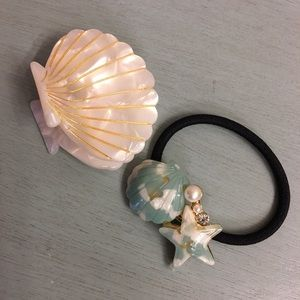 Anthropologie hair tie clip ponytail NEW shell